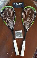 2 x Prince Team Airstick 500 squash racquets, spare Head Intellistring, glasses