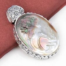 Valentine Natural Carved Cameo Shell Gems Vintage Solid Silver Necklace Pendant