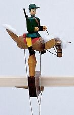 Wolfgang Werner German Wooden Toy - Pendelreiter - Haflinger w/ Huntsman Hunter