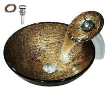 New Design Hand Made Bathroom Tempered Glass Vessel Sink Basin Faucet Set