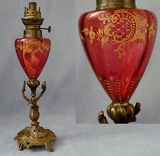Rare Lampe à Pétrole Cristal Rouge Rubis Gravé et Doré Bronze Baccarat XIXème
