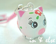 Pink White Pig Farm Bell Charm Strap for Phone, Bag 0.7 in.