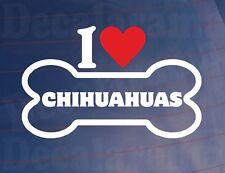 I Liebe/Herz Chihuahuas Neuheit Knochen Vinyl Auto Aufkleber Ideal für