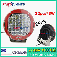 "2X 96W Red Round 9"" Cree Led Driving SPOT Work Light 4WD Offroad SUV ATV BOAT FS"