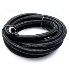 "AN -8 AN8 7/16"" 11MM Black NYLON Braided RUBBER Fuel Oil Hose Pipe 3 Metre"