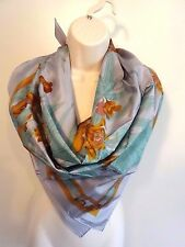 100% Thai Silk Orchid Pattern Purple/Gray Square Scarf 35x34 Floral Multi-Color