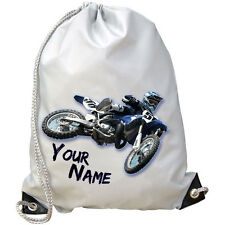 BLUE MOTOCROSS MX YAMAHA PERSONALISED GYM / SWIMMING /PE BAG - KIDS GIFT & NAMED
