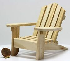 Dollhouse Miniature Adirondack Chair in Natural Wood