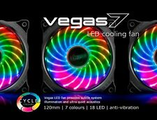 Akasa Vegas 7, 120mm 12cm RGB 18 x Led Ultra Quiet PC Case Fan, 41.9 CFM, 3 Pin