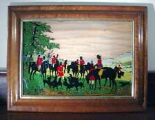 Vintage REVERSE PAINTED GLASS HUNTING SCENE Fox Hound Horses BURLWOOD FRAME A