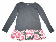 Girl's Tea Collection Navy Blue Floral Water Blossom Bubble Top Fall Winter Sz 4