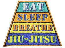 Jiu Jitsu Gi Patch BJJ EAT SLEEP BREATHE JIU-JITSU 100% Embroidery IRON-ON