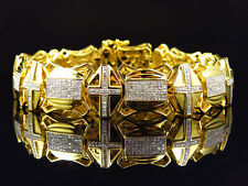 Mens Genuine Diamond Cross Style Link Bracelet In Yellow Gold Finish 3.5Ct