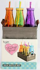 Vintage Milk Bottle Set Of 6 Coloured Glass Bottle IDEAL FOR BAR Home Kitchen 15