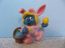 1982 VINTAGE SMURF PVC Figure Girl Smurfette Easter Bunny Egg Basket PORTUGAL