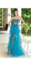 New ALYCE Paris 6054 Turquoise Ruffle Hi-Low Prom Pageant Evening Dress Size 6