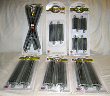 """Lot of 6 Bachmann EZ Train Track New in Box Grey HO Scale, 9"""", 4 1/2"""", X, Curve"""
