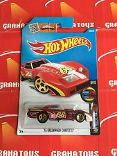 76 Greenwood Corvette #63 Red Hot Wheels 2016 Hot Wheels Case E