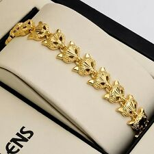 "Fashion Jewelry 18K Yellow Gold Filled fox Bracelet Charm Chain 7.3"" Womens Link"