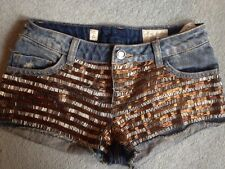 Pull And Bear Blue Denim Shorts Hotpants Ripped Torn Sequin Festival