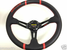 Red 350mm Leather Deep Dish Steering Wheel OMP NARDI SPARCO PU BOSS KIT Drifting