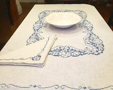 "Vintage Linen White Tablecloth 4 Napkins 50"" X 67"" Hand Embroidered Blue Cottage"