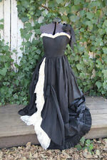 Vintage Peekaboo Lace Gown, Size S, Black, Full-Length, One Shoulder, Synthetic