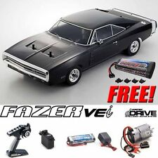 Kyosho 1/10 Fazer VEi 1970 Dodge Charger Black 4WD Car RTR dDRIVE + Free Battery