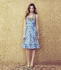 Tory Burch Dress 8 Ramona Floral Blue NWT Silk Blend celeb Runway $450