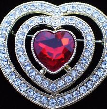 NIB MONET RED RHINESTONE HAPPY VALENTINES DAY CUPID LOVE HEART PIN BROOCH 1 3/4""