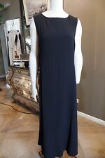 Eileen Fisher Black 100% Silk Sleeveless Maxi Dress M