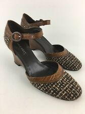 Nine West Ankle Strap Wedge Pumps Round Toe Brown Leather Tweed Size 9