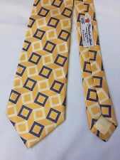Turnbull & Asser Yellow Blue Square 100% Silk Geo Neck Tie