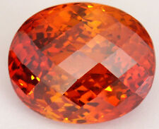 Stunning 25x21 mm 88.2 ct Oval Checkerboard Padparacha CZ AAAAA