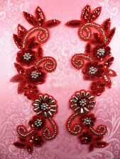 "0183 Appliques Red and Silver Mirror Pair Sequin Beaded 10""  Set Floral"