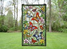"20"" x 34"" Large Tiffany Style stained glass window panel Butterfly Garden Flower"