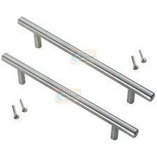 2 x 96mm Solid T BAR Handles Nickel Kitchen Bedroom Cabinet Door Cupboard Drawer