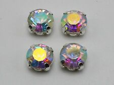 50 Silver with Clear AB Crystal Glass Rhinestones Rose Montees 8mm Sew on Beads