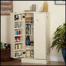 Free Standing Kitchen Pantry Storage Pine White Cabinet Utility Freestanding