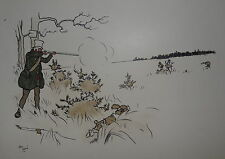 GRAVURE CECIL ALDIN CHASSE CHASSEUR FUSIL GIBIER CHIEN ÉPAGNEUL HUNTING 1900