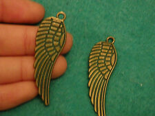 2 large wing charms pendants bronze beads vintage antique jewellery making UK