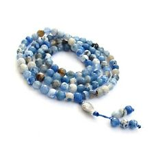 Faceted Blue Agate Tibet Buddhist 108 Prayer Beads Mala Necklace
