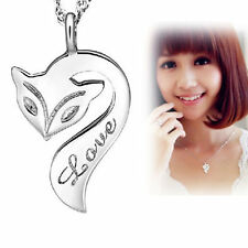 Chain Necklace Party Charm Pendant Fox Girl Lady Jewelry Stylish Silver Plated j