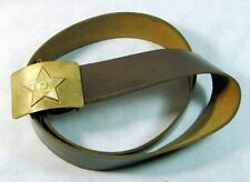 Original Vintage Soviet Russian Army Brown Leather Belt Brass Buckle USSR 110cm