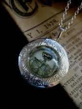 Esqueleto Medallón Collar Colgante Gótico Silver Vintage De Fantasía Skull Steampunk