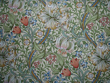"WILLIAM MORRIS CURTAIN FABRIC ""Golden Lily Minor"" 3.1 METRES GREEN/GOLD (315 CM)"