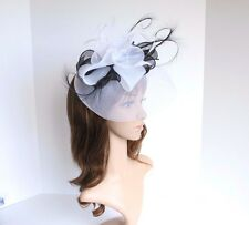 High Quality Kentucky Derby Wedding Polyester Feather Fascinator White/Black2406