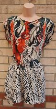 BERSHKA CREAM ORANGE GREEN FEATHER LEOPARD SILKY A LINE SKATER MINI DRESS M 12