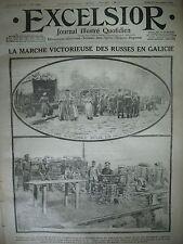 WW1 N° 1458 LES RUSSES EN GALICIE ECHOS BELGIQUE RéFUGIéS JOURNAL EXCELSIOR 1914