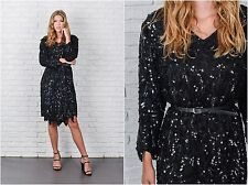 Vintage 80s Black Silk Dress Scalloped Sequin Beaded Party cocktail Medium M